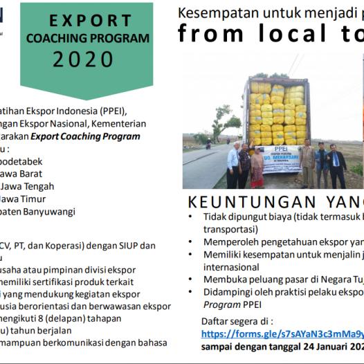 Rekrutmen Calon Peserta Export Coaching Program (ECP) PPEI Tahun 2020