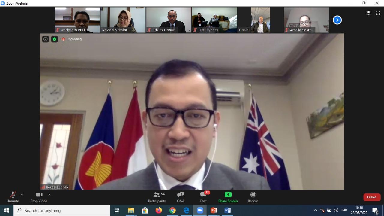 """Webinar Bagi Diaspora Indonesia di South Australia """"Potensi Bisnis Diaspora Indonesia di Australia melalui Implementasi IACEPA"""""""